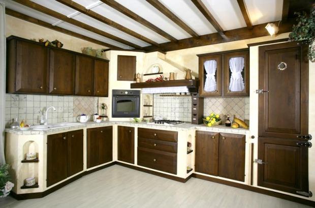 Cucine country in muratura ruvide rustiche inserti in legno - Realizzare una cucina in muratura ...