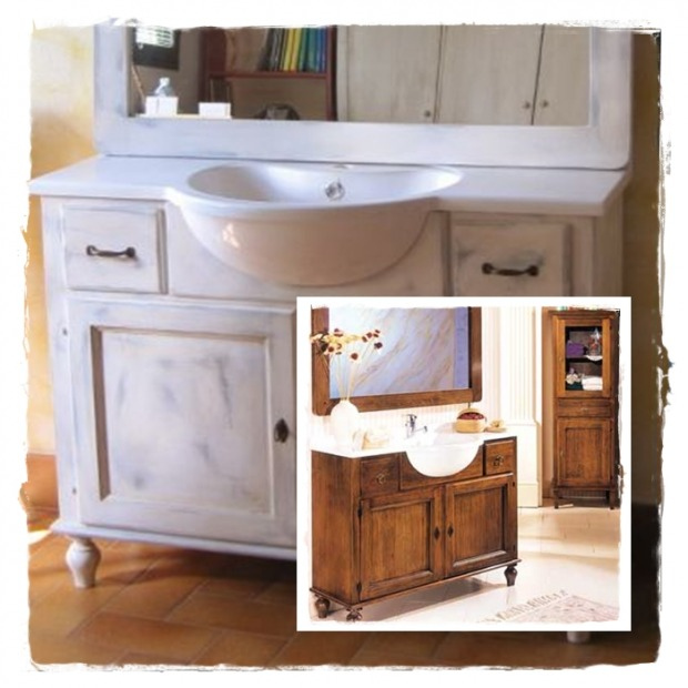 Lavabo bagno country marmo rame - Mobili country bagno ...
